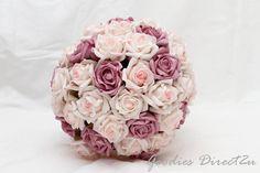 Large Soft Pink and Mauve Rose Bridal Bouquet Bridesmaid Bouquets, Wedding Bouquets, Bridesmaids, Wedding Flowers, Mauve Wedding, Wedding Fun, Wedding Ideas, Rose Bridal Bouquet, Pink Rose Bouquet