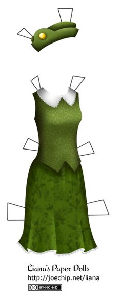 A green vest with a light green flower pattern and a wide Peter Pan-style white collar edged with lace. Also, a green skirt that falls above the knees with a subtle, darker floral pattern and lace around the hem. There is also a green beret with a gold ornament on the side.