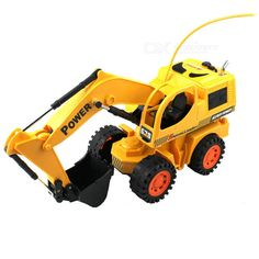 R/C Stunt Digger Excavator Model Toy (4xAA + 2xAA). Color: Yellow - Model: 8020RC - Plastic case material - Functions: forward, backward, turn left, turn right, levorotatory, dextral, stop - Digger uses 4 x AA 1.2V/700mAh rechargeable batteries (included) - Controller uses 2 x AA batteries (included) - Accessories: - 1 x 110~220V power adapter (2-flat-pin plug / 80cm cable) - 1 x Remote controller (2 x AA included). Tags: #Hobbies #Toys #R/C #Toys #Other #R/C #Toys