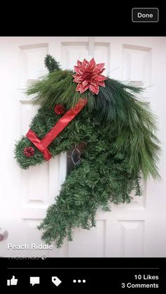 Yule style! Noel! Horse head Christmas Holiday wreath - perfect throughout the Winter Season!