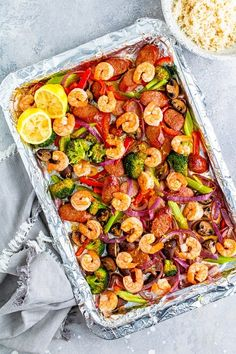 Shrimp and Andouille Sheet Pan Dinner with broccoli, mushrooms, bell pepper, onion, and celery seasoned with Cajun spices for a light and easy sheet pan meal. #sheetpan Ww Recipes, Seafood Recipes, Cooking Recipes, Healthy Recipes, Skinnytaste Recipes, Dinner Recipes, Dinner Ideas, Shellfish Recipes, Diabetic Recipes