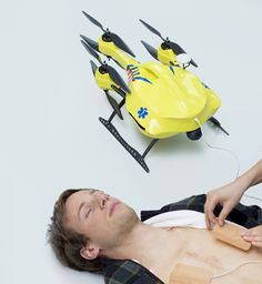 Flying defibrillator prototype by Industrial Design Engineering student Alec Momont from TU Delft. The unmanned drone tracks emergency mobile calls' GPS to reach heart attack victims and increases the chance of survival from 8 % to 80 %.
