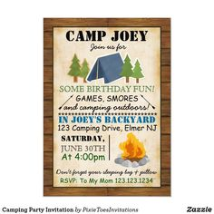 Shop Camping Party Invitation created by PixieToesInvitations.