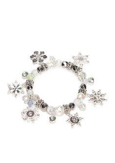Kim Rogers® Silver-Tone Crystal White Snowflake Stretch Bracelet
