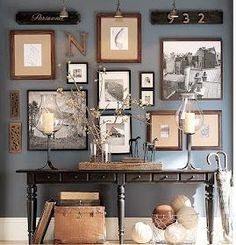 Wall gallery Black and White picture. The post Denim Drift Wall color. Wall gallery Black and White picture…. appeared first on Erre Desi . Decor, Interior Design, House Interior, Wall Color, Wood Gallery Frames, Home, Interior, Family Room, Home Decor