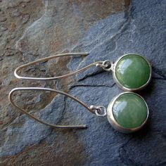 Green Aragonite & Sterling Silver Earrings by beaucoupdebijoux, $139.00