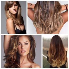 Brown Hair with Balayage Caramel Highlights