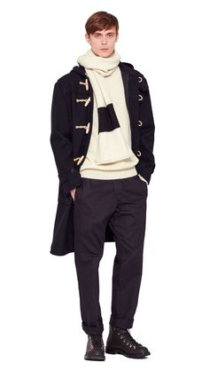 AUTUMN WINTER 2016 COLLECTION -   NAVY COMPACT WOOL MELTON MHL DUFFLE COAT,  ECRU/BLACK BRITISH WOOL MHL COLOUR BLOCK SCARF,  ECRU BRITISH WOOL MHL SADDLE SLEEVE ROLL NECK,  NAVY DRY COTTON DRILL MHL GYM TROUSERS,  DARK BROWN HEAVY LEATHER MHL HIKING BOOT