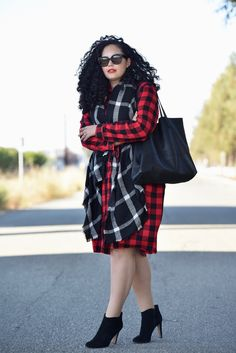 plaid Shirtdress, plaid scarf and booties worn by GIRL WITH CURVES founder Tanesha Awasthi.