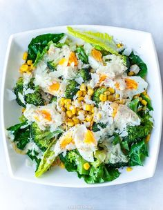 Sałatka z jajkiem, brokułami i kukurydzą Fast Healthy Meals, Healthy Snacks, Healthy Eating, Healthy Recipes, Cold Meals, Cobb Salad, Potato Salad, Brunch, Food And Drink