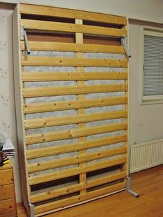 Last week I picked up the Sesam wall bed mechanism from the post office. I had ordered the mechanism from Sweden and I got instruction on h. Cheap Murphy Bed, Build A Murphy Bed, Murphy Door, Murphy Bed Plans, Diy Furniture Plans, Bed Furniture, Murphy Bed Office, Hidden Wall Bed, Wooden Valance