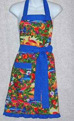Colorful Flamingos Apron by AGiftToTreasure on Etsy