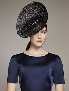 Juliette Botterill Millinery | Crystal Embellished Upturn | Black and Headpieces | LOVEHATS.COM