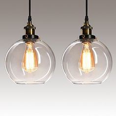 Frideko 2 Pack of Vintage Ball Glass Ceiling Pendant Light 7.8 inch Industrial Style Globe Glass Lampshade Hanging Fixture Lighting with Adjustable Cord Length for Kitchen Island Dining Room 20cm