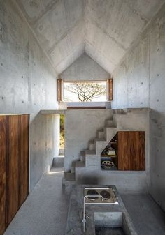 Casa Tiny near Casa Wabi This beautiful tiny house is the perfect escape, enjoy. - Petra Home Architecture Design, Concrete Architecture, Minimalist Architecture, Stairs Architecture, Architecture Interiors, Architecture Portfolio, Futuristic Architecture, Residential Architecture, Concrete Interiors