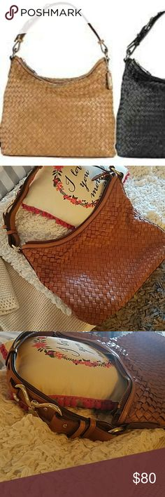 Cole Haan woven camel shoulder purse Perfect condition! Beautiful genuine leather bag from Cole Haan Cole Haan Bags Shoulder Bags