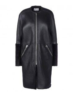 Acne Studios Leather & Shearling Jacket - Shop chic fall coats at ShopBAZAAR.com http://shop.harpersbazaar.com/trends/best-in-coat/