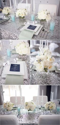 Inspiration for our wedding - sparkly silver table linens, sparkly wedding decor, sparkly wedding reception ideas, sparkly wedding ideas Mod Wedding, Trendy Wedding, Perfect Wedding, Wedding Events, Dream Wedding, Wedding Day, Blue Wedding, Sparkle Wedding, Wedding Flowers