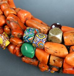 The necklace is one of the finest pieces of Berber tribal jewelry we have ever seen. It's beautifully constructed out of a rich amalgam of antique coral, Berbe