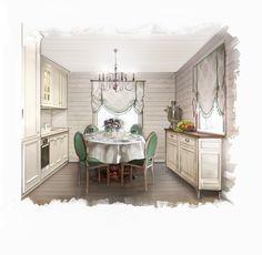 На фото – интерьер кухни в бело-зленых тонах в стиле кантри