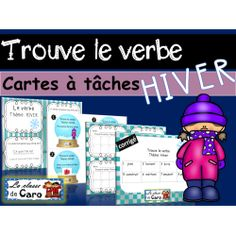 Trouve le verbe - Cartes à tâche - Thème d'HIVER Core French, French Class, French Teacher, Teaching French, Teacher Helper, Second Language, Learn French, Boutique, Learning