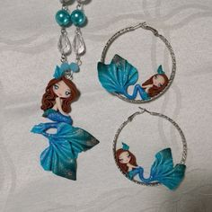 Necklace and earrings mermaid in fimo, polymer clay