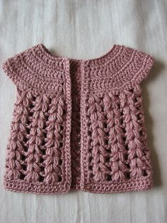 Ravelry: Project Gallery for Baby Cardigan pattern by Kawaii Blythe Crochet Baby Cardigan Free Pattern, Crochet Girls Dress Pattern, Crochet Baby Jacket, Crochet Baby Sweaters, Cardigan Pattern, Baby Knitting, Crochet Patterns, Crochet Toddler, Crochet For Kids