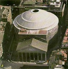 Interesting view of the Pantheon come from the top