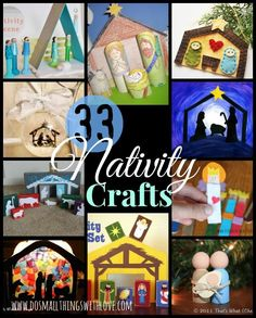 Today I am sharing my all-time favorite roundup with you: 33 Nativity Crafts for Christmas!  As my husband can tell you, I am obsessed, OBSESSED with nativities!  Around Christmas time I just keep buying them and I already have one for each room.  We have play nativity sets, ethnic sets, crystals, ceramic, wood, realistic, abstract… …
