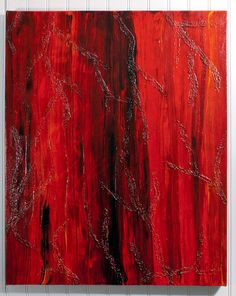 Red and Black Abstract Acrylic Painting on Canvas