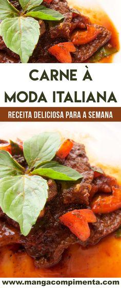 Receita deCarne à Moda Italiana - um prato delicioso para refeição da família! #receita #carne Italian Foods, Italian Recipes, Gluten, Beef, Easy Healthy Recipes, Yummy Recipes, No Carb Recipes, White Meat, Beverages