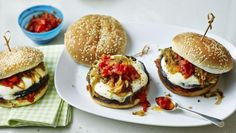 BBC Food - Recipes - Mushroom and mozzarella burger with relish
