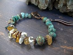 Cities of the Plain - OOAK citrine african turquoise gem copper leather artisan lampwork rustic boho bracelet by PreciousViolet on Etsy