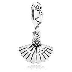 Vintage fan dangle charm in sterling silver with cute heart details. $45. #PANDORA #PANDORAcharm