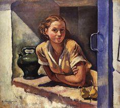Zinaida Serebriakova - Katia on the terrace, Collioure Russian Painting, Russian Art, Figure Painting, Art Nouveau, Art Database, Oil Painting Reproductions, Western Art, Oeuvre D'art, Art World