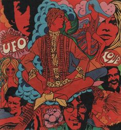 Illustration featuring psychedelic imagery incorporating popular pop musicians of the era such as the Beatles, Bob Dylan, and others, United Kingdom, 1968, by Jackie magazine (artist unattributed).