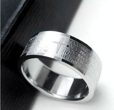 Anillos de plata para los hombres mujeres de la Oración del Señor Biblia Cruz Anillos de Acero Inoxidable Hombres moda Punk anillos de La Joyería de regalo