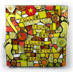 FOLLOW YOUR OWN YELLOW BRICK ROAD! graduation mosaic wizard of oz graduation ideas etsy assemblage art judy garland flower stained glass polymer clay