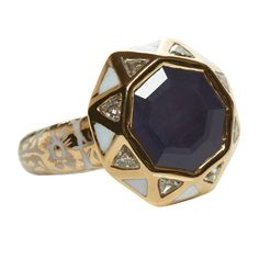 Jade Jagger Sapphire Diamond Gold Octagon Ring   From a unique collection of vintage more rings at https://www.1stdibs.com/jewelry/rings/more-rings/