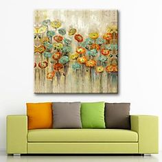Hand Painted Foral Painting with Stretched Frame Ready to Hang | LightInTheBox