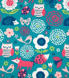 Doodles Collection- Interlock Knit Owl Flowers Teal