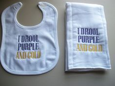 I drool purple and gold burp cloth and bib set by dragonfly9012, $14.00