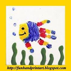 Fun fish handprint crafts and more! Preschool Crafts, Fun Crafts, Arts And Crafts, Preschool Ideas, Craft Ideas, Teach Preschool, Fish Handprint, Handprint Painting, Handprint Poem