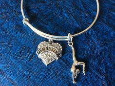Gymnastics Crystal Heart Charm on Expandable Adjustable Wire Bangle Bracelet Girl Gift Gymnast Sport
