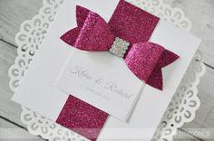 Wedding Invitation Glitter Bow
