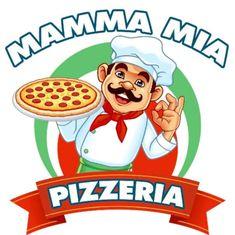 Logo Pizzeria Mamma Mia Chef Logo, Pizza Logo, Pizza Delivery, Mamma Mia, Bucharest, Caricature, Sticker, Fictional Characters, Oil Painting On Canvas