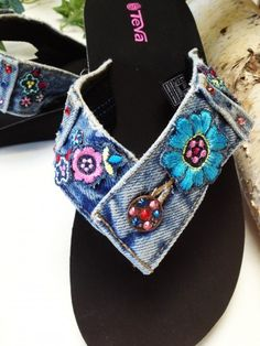 """""""Recycle ~ Reuse ~ Re-purpose ~ Reinvent The """"OK"""" Flip Flop Thong Sandal is created from Re-purposed Blue Jean Denim and embellished with Sparkling Authentic Austrian Swarovski Crystals & Re-Claimed Embroidery. Using a Teva Mandlyn Base. Flip Flops Diy, Jean Crafts, Denim Crafts, Flipflops, Diy Vetement, Denim Ideas, Recycle Jeans, Recycled Denim, Refashion"""