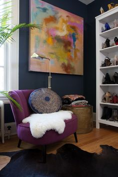 Add a pop of color with a purple chair.