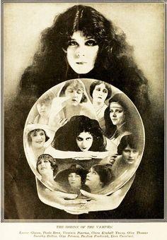 The Shrine of the Vampire. (The Vamps of 1919) -- Louise Glaum,Theda Bara, Virginia Pearson, Clara Kimball Young, Olive Thomas, Dorothy Dalton, Olga Petrova, Pauline Frederick, Lina Cavalieri.