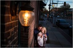 Fall engagement portrait in Media PA on a small back street.